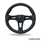 Black Leather Steering Wheel w/ Carbon Center Spoke