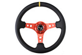 "350mm Sport Steering Wheel (3"" Deep) - Red w/ center marking"