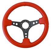 "350mm Sport Steering Wheel (3"" Deep) Red Lthr w/ Blk Stitching"