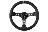 "350mm Sport Steering Wheel (3"" Deep) - Leather w/ Yellow Center Mark"