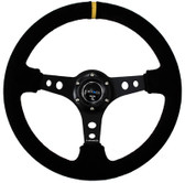 "350mm Sport Steering Wheel (3"" Deep) - Suede w/ Yellow Center Mark"