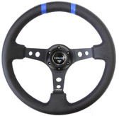 "350mm Sport steering wheel (3"" Deep) Black w/ Blue Double Center Marking"