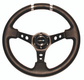 "350mm Sport Steering Wheel (3"" Deep) Black w/ Silver Double Center Marking"