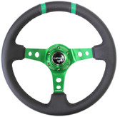 "350mm Sport Steering Wheel (3"" Deep) Green w/ Green Double Center Marking"
