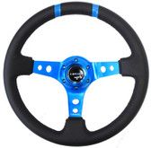 "350mm Sport Steering Wheel (3"" Deep) New Blue w /Blue Double Center Marking"