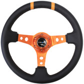 "350mm Sport Steering Wheel (3"" Deep) Orange w/ Orange Double Center Marking"