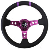 "350mm Sport Steering Wheel (3"" Deep) Purple w/ Purple Double Center Marking"