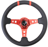 "350mm Sport Steering Wheel (3"" Deep) Red w/ Red Double Center Marking"