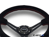 "350mm Sport Steering Wheel (3"" Deep) Black Suede with Red Stitching"