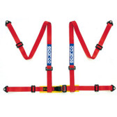 Sparco Tuner Harness; 4-Point Bolt-In RED
