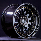 JNC001 Gloss Black Gold Rivets 17x9 5x100/5x114.3 +25