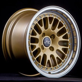 JNC001 Gold Machined Lip 15x8 4x100 +25