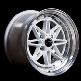 JNC002 White Machined Lip 15x8 4x100 +25