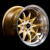 JNC003 Gold Machined Lip 15x9 4x100/4x114.3 +0