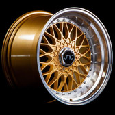 JNC004 Gold Machined Lip 17x8.5 4x100/4x114.3 +15
