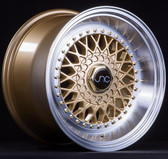 JNC004S Gold Machined Lip Gold Rivets 17x8.5 4x100/4x114.3 +15