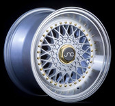JNC004S Silver Machined Lip Gold Rivets 17x10 4x100/4x114.3 +25