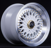 JNC004S White Machined Lip Gold Rivets 15x8 4x100/4x114.3 +20