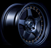 JNC009 Matte Black Gold Rivets 15x8 4x100/4x114.3 +25
