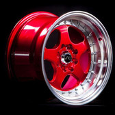 JNC010 Candy Red Machined Lip 15x8 4x100/4x114.3 +20