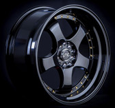 JNC017 Gloss Black w/ Gold Rivets 18x8.5 5x100/5x114.3 +30
