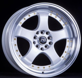 JNC017 Pearl White Machined Lip Gold Rivets 17x9 5x100/5x114.3 +20