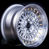 JNC031 Silver Machined Face Gold Rivets 15x8 4x100/4x114.3 +20