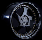 JNC034 Gloss Black Gold Rivets 18x8.5 5x114.3 +30