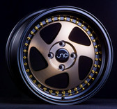 JNC034 Matte Bronze Black Lip Gold Rivets 18x8.5 5x114.3 +30