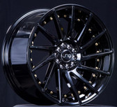 JNC051 Gloss Black/Gold Rivets 18x8.5 5x100/5x114.3 +35