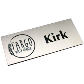 "Brushed Metal Name Badge - 1¼"" x 3"""