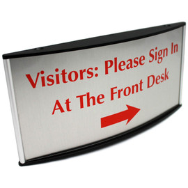 "Curved Lobby Desk Sign - 4"" x 8½"""