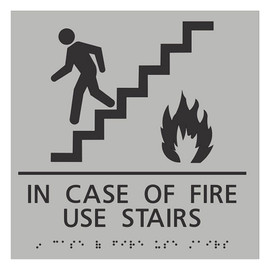 "In Case of Fire Use Stairs - 8¾"" x 8¾"""