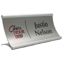 "Modern Curved Desk Sign - 3¼"" x 8"""