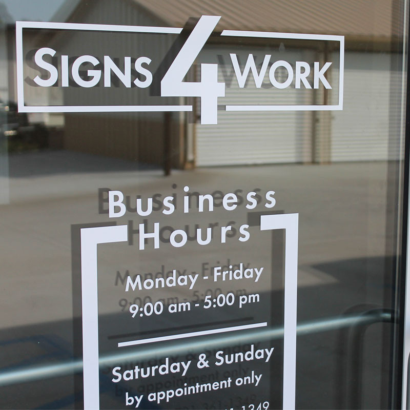 hours sign door business for glass