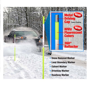 "Reflective Driveway Markers 72"" Poles Snow Stakes"