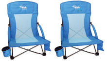 2 Beach Chairs with cup holders and smartphone pouch