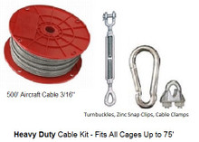 Baseball Batting Cage Cable Suspension Kit Heavy Duty with 500' Aircraft Cable 3/16 inch