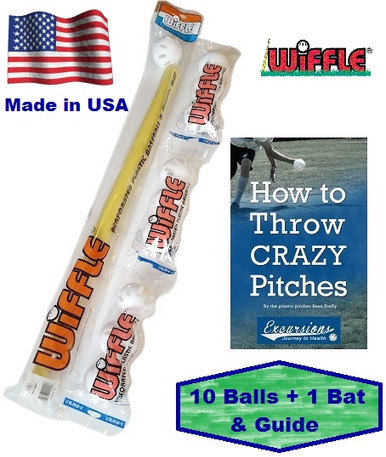 Wiffle bat and ball combo set with how to pitch guide