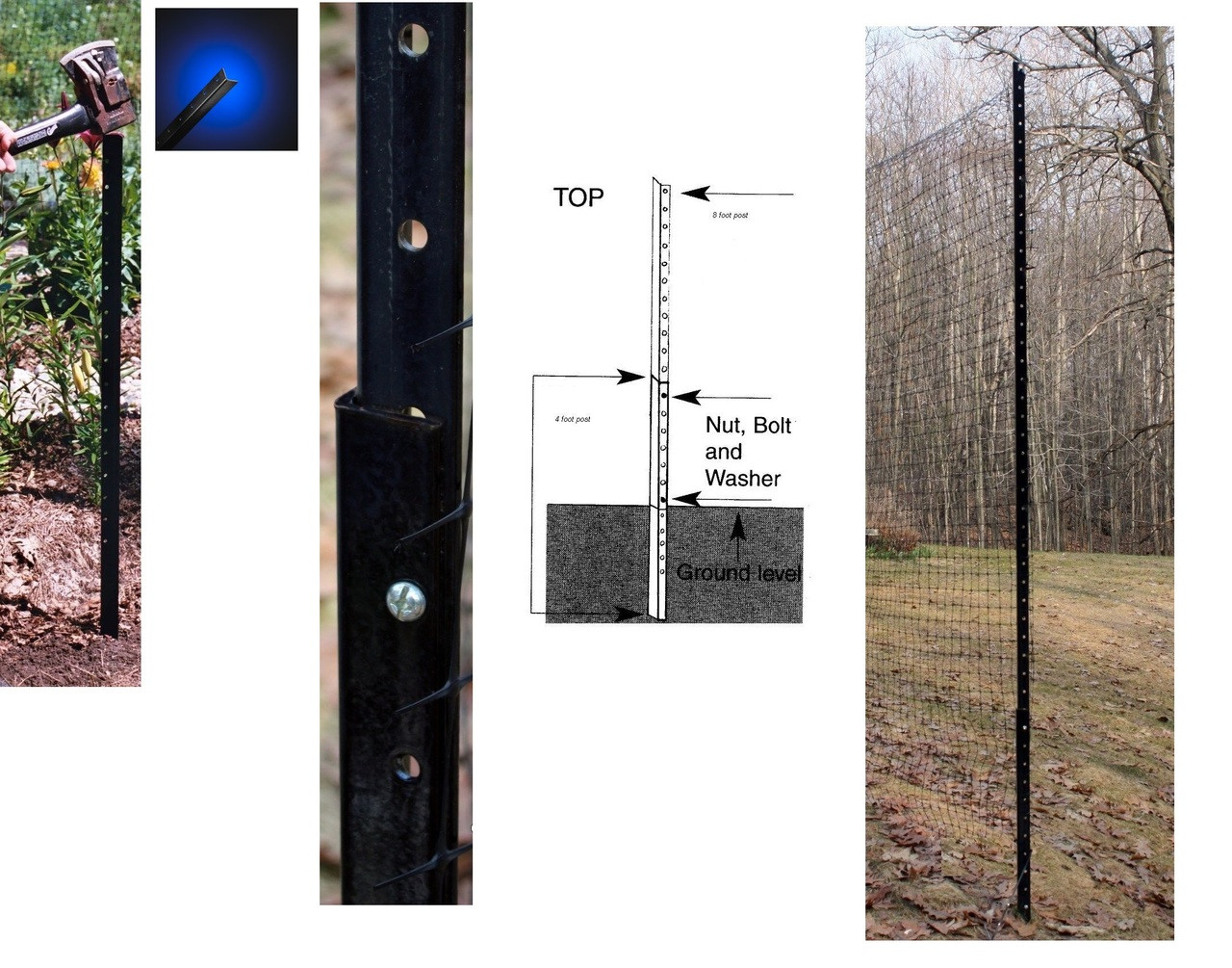 8/' with 4/' Fence Post Angle Steel Pkg of 9 deer garden8/' above ground set up