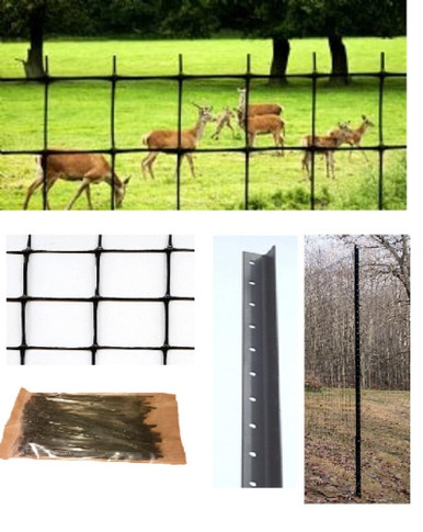 Deer Fence Kit 165 ft with netting, steel posts, and cable ties