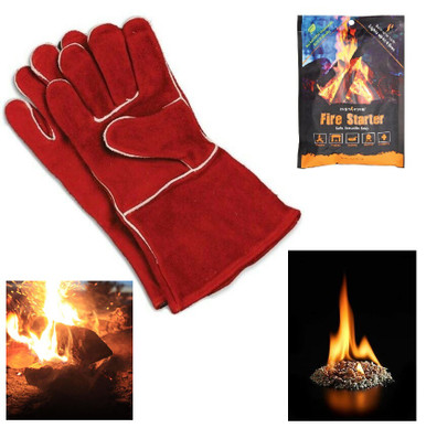 Fireplace Gloves plus InstaFire Starter Packet