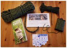 Knot tying kit with rope pro knot cards and outdoor knots field guide