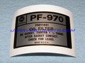 Label, PF970 Oil Filter, 90~95 [12B4]