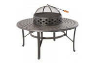 """Cobblestone 48"""" Beverage Fire Pit Chat Table Cast Aluminum Antique Topaz"""