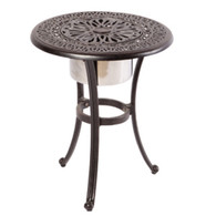 "Kaleidoscope 21"" Round Beverage Cooler Side Table with Stainless Steel Bowl Cast Aluminum Antique Wine"