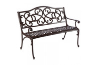 Wisteria Cast Aluminum Garden Bench Brown Sugar