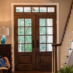 find home design and rennovation ideas with a transom window over exterior double or french doors