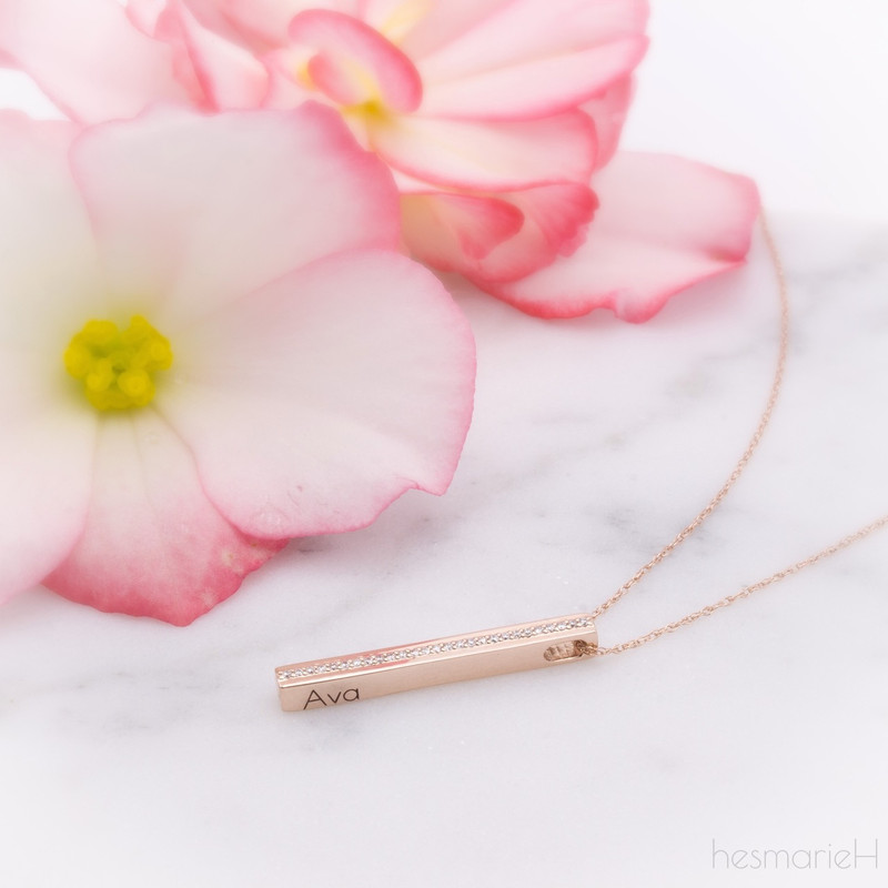 Monogrammable 14K Rose Gold Bar Necklace -  hesmarieH® PIECE of my HEART