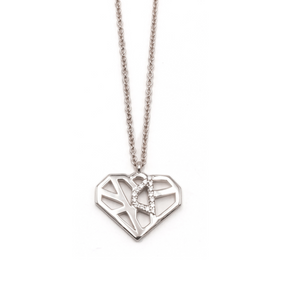 Heart Pendant Necklace White Gold